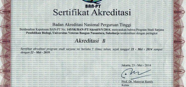 Sertifikat Akreditasi Pendidikan Biologi Tahun 2014-2019