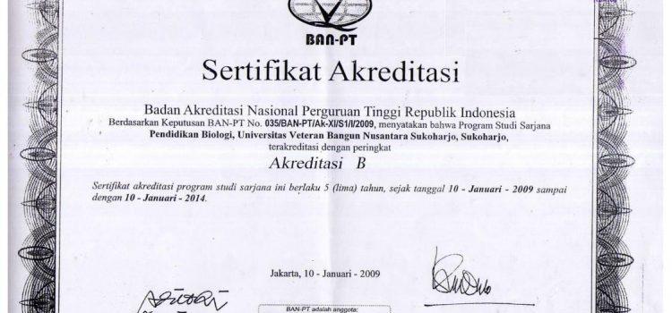 Sertifikat Akreditasi Pend. Biologi Tahun 2009-2014