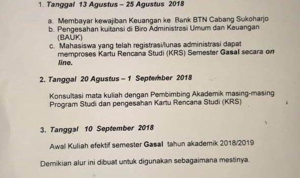 Alur Registrasi Mahasiswa Lama Semester Gasal Tahun Akademik 2018-2019