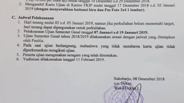 Pengumuman Pelaksanaan Ujian Semester Gasal Tahun Akademik 2018-2019